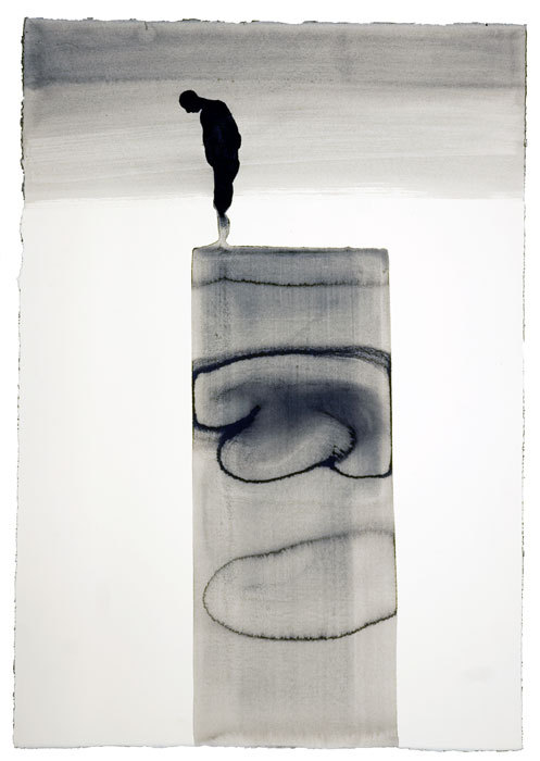 ONE AND OTHER VI, 2010 Carbon and casein on paper 77 x 56 cm by Antony Gormley