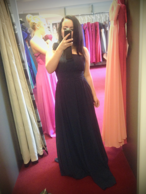 Currently in Chester shopping for bridesmaids dresses, I love this, especially the gunmetal grey colour, my mum loves the style but wants it in a lighter colour.