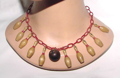 Let's go Bowling! 1930's celluloid necklace on Giannas Gems (195,- USD).