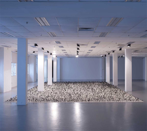 arpeggia:  London-based artist Zadok Ben David created this installation using 12,000 cut steel botanical specimens modeled from old textbook illustrations, each embedded in a thin layer of sand. (via thisiscolossal)