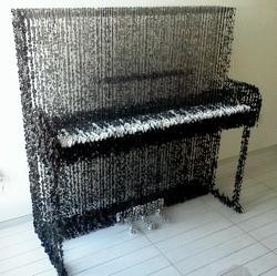 Piano made from only buttons and string Art by Augusto Esquivel