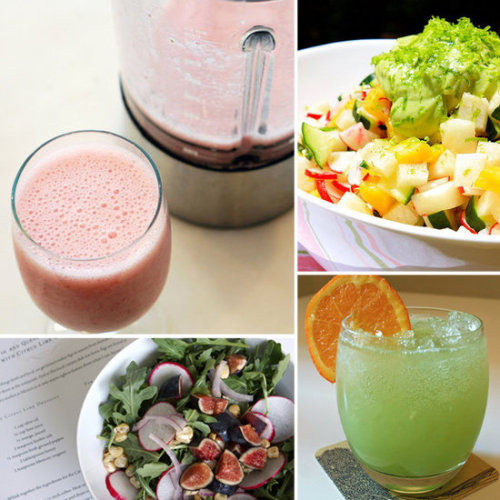 5 Uber Hydrating Recipes These recipes take advantage of water-filled produce like cucumbers, jicama, and radishes to help hydrate you from within as the weather gets warmer.   Cucumber and baked tofu rolls Jicama, pineapple, and radish salad Green melon mocktail Strawberry banana Aloe Vera smoothie Mexican fig and radish salad recipe  (via Fit Sugar)