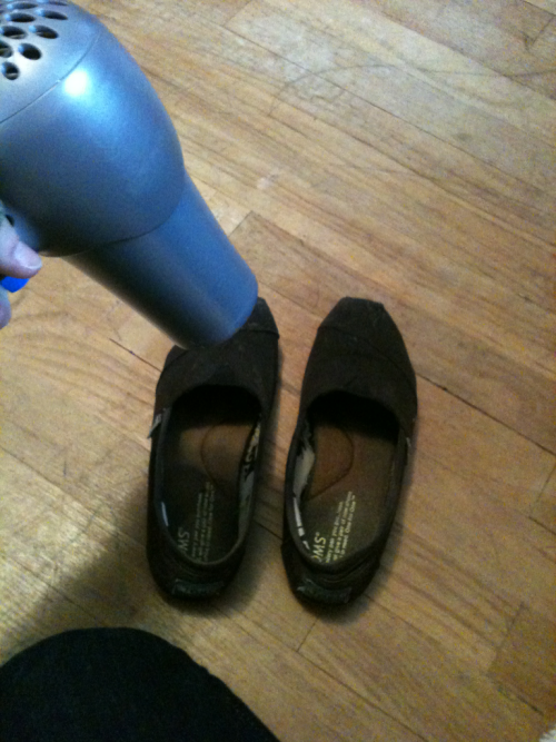I do very strange things when my Toms are wet