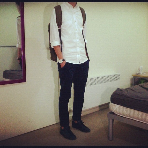 #ootd #wiwt #commonprojects le white n navy outfit (Taken with instagram)