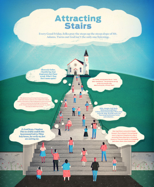 Cincinnati Magazine - Editorials Attracting Stairs This is a full page editorial for the March issue of the magazine, I've altered this particular version for my portfolio as in the magazine the typography and clouds were a little bigger, but I preferred it this way.  The article's about a church in Cincinnati where people gather upon the stairs beneath and pray to God. The clouds below this church contain religious phrases with a humorous twist.