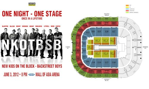 New Kids on the Block and Backstreet Boys Live in Manila!June 3 at the new Mall of Asia Arena. Tickets are still available at www.smtickets.com Another Ovation Productions concert. http://manilaconcertscene.blogspot.com/2012/04/nkotbsb-tour-new-kids-on.html