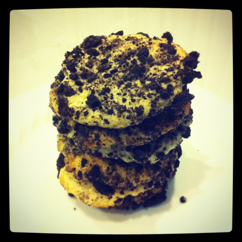 Oreo Cheesecake Cookies Homemade (by me)  Crispy yet soft and full of chocolatey goodness. Perfect after dinner snack!