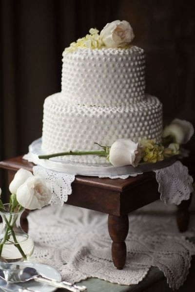 simple, white swiss dot wedding cake