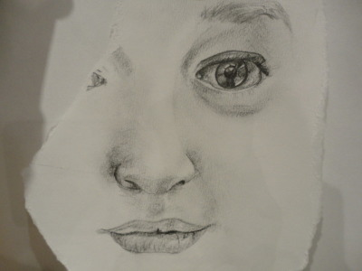 the majority of Heidi's face in pencil