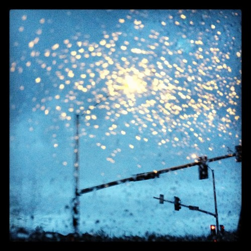 Good morning rain! #airport #rain #morning #sunrise #clouds #lights #streetlights (Taken with instagram)