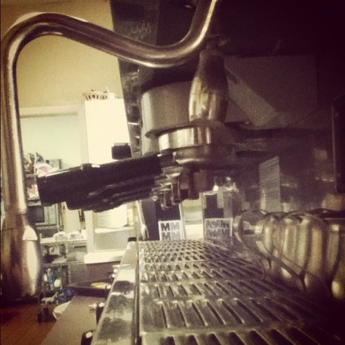 #espresso #espressomachine #barista #lacimbali #cimbali #coffee #groupheads #portafilters #shotpitchers #morning (Taken with Instagram at Cafe Noir)