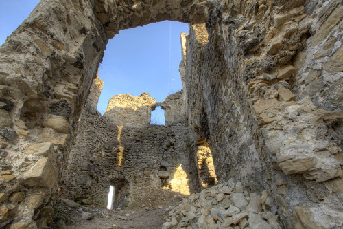 ruins by jandudas on Flickr.Via Flickr: of the entrance tower, Považský hrad (Bistrizza castle). The exact year of establishment of the Bistrizza castle is not known, but it is assumed that it might have been around 1128 AD. There are doubts that the castle in those times might have been made of wood because of the presence of two other wooden castles in present day Slovakia. For the shift from wooden castle is probably responsible Béla IV, strikened by the invasions of Batu Khan.