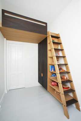 I absolutely love this idea for a loft bed, looks stunning and allows the rest of the room to be used. Perfect in a small study space (via Collect Furniture)