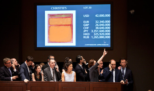 "Bidding in the room and over the phones was frenzied over Mark Rothko's ""Orange, Red, Yellow,"" which eventually fetched a record $87 million last night at Christie's."