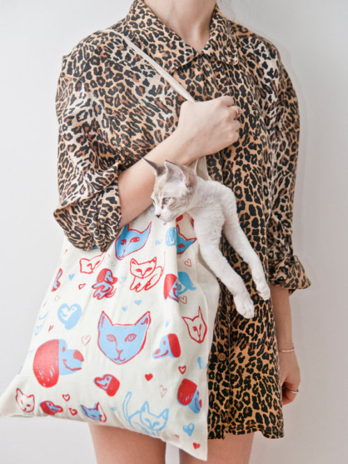 puppy kitty love tote by leahgoren