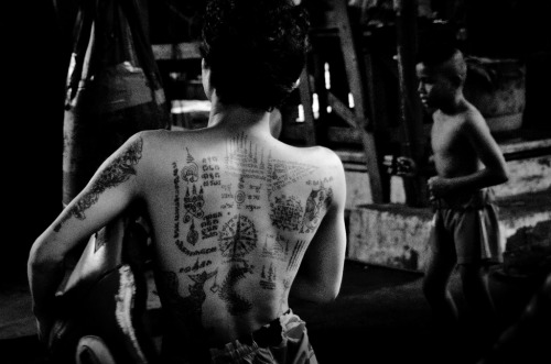 I fight, therefore I survive | Bangkok | Documentary - Traditional Thai Sak Yant tattoo on Muay Thai trainer's back. Local people believe it will protect them from danger or even death.