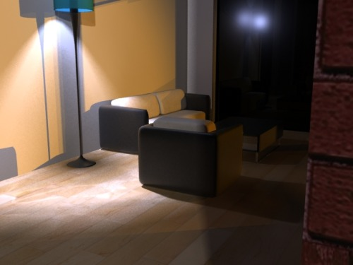 Interior scene, modeled, textured and lit in 3DSMax