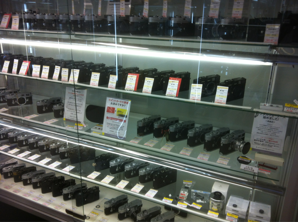 The Leica M cabinet in Lemon Camera, Ginza.