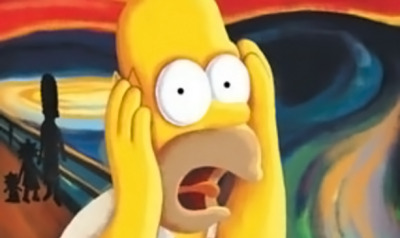 "Homer Simpson featured in a parody of Munch's ""The Scream"". Scream fever has officially ensued… (even ARTINFO has a sense of humor)"