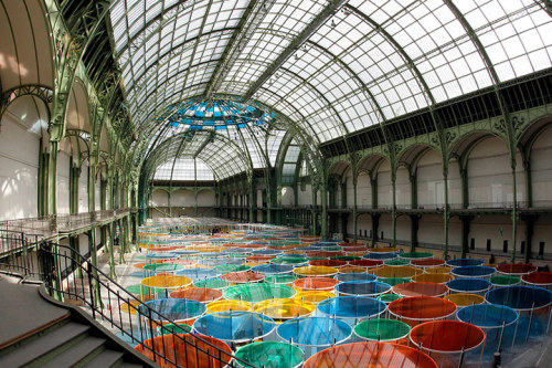 French conceptual artist Daniel Buren is the fifth artist to take over the Grand Palais in Paris. His offering is Excentrique(s), a giant kaleidoscope-style installation that fills the building's nave. Flick through our gallery