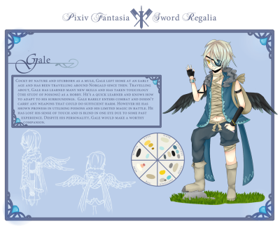 Pixiv Fantasia SR OC  FINNALLLYYY DONE!! Gosh it took so long orz I decided to draw the border frames coz I was too lazy to go find one (Hello Yue logic). Welp! now to get some sleep and upload it tomorrow! (asdkfjaslakfj How do I Japanese? ;D; )