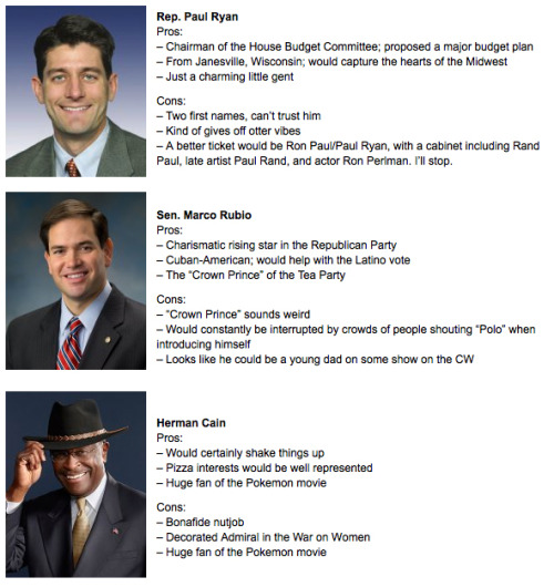 Romney Running Mate Suggestions [click for more] Now that Mitt Romney has all but sealed the deal as the Republican nominee (pick up the pace, Ron Paul), it's time that he start considering potential running mates. Mitt is certainly lacking in the image department, so we here at CollegeHumor thought we would suggest some possibilities that might balance out the GOP ticket this year.
