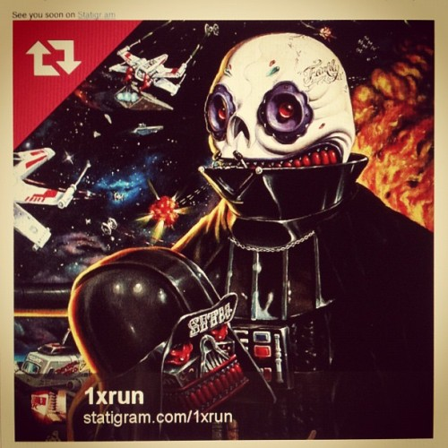 @1xrun is dropping my Imperial Taco Ship print in a couple of hours. Go to 1xRUN.com/runs/Imperial_Taco_Ship to buy one, only 75 made available, will never be reprinted. Do It! #Calavera #DatrhVader #Starwars #TacoTruck  (Taken with instagram)