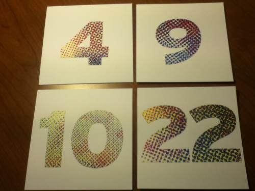 Table numbers, I can decorate with pixelated charm