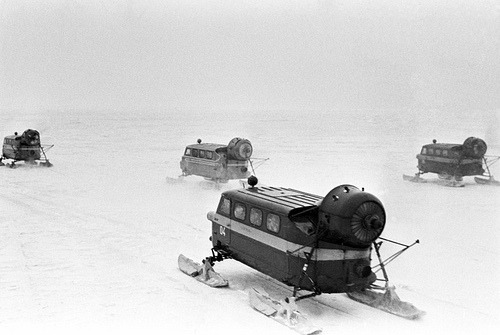 fuckyeahsovietrussia:  USSR Life. Postal snowmobile in the Khabarovsk Territory, 1983. ☭