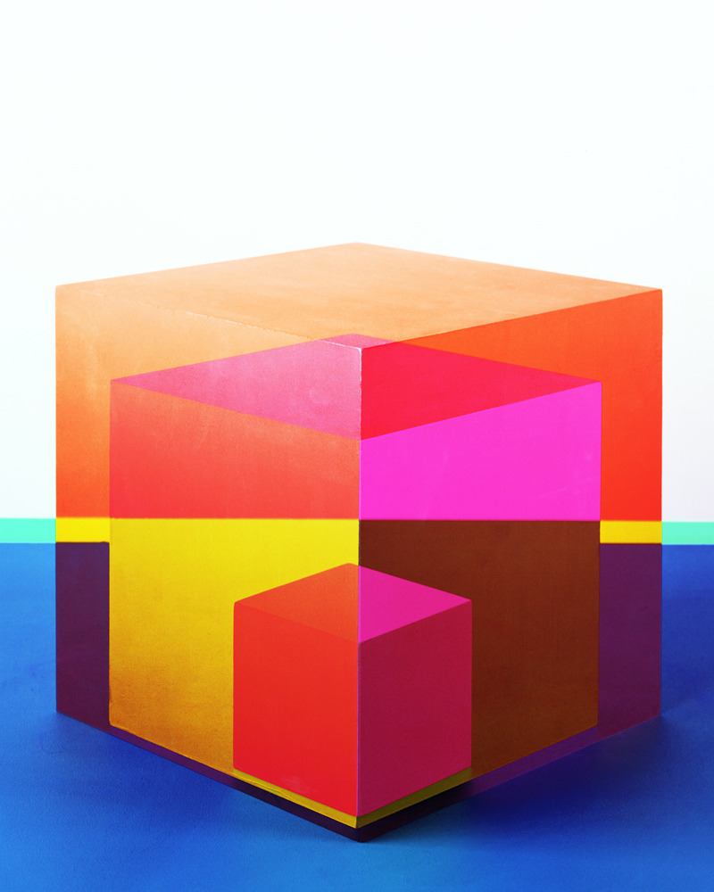 LOVELOVELOVE We love this photograph from Jessica Eaton's series of cubes. This fab Toronto artist has been exhibiting between Canada and NYC for since 2006 .Although it looks like a painting, it is actually a photograph of a monochromatic cube that has been through multiple exposures and color hues We don't know how she does it, but it definitely picks us up on yet another gloomy New York day.