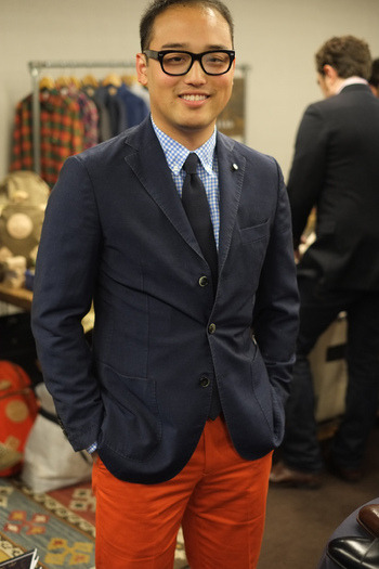 A picture of myself taken by Mike of Epaulet Shop from the Styleforum 10-Year Anniversary Party.  I'm wearing Epaulet's Slim Walt trousers in blaze in the picture.  The trousers fit so nicely that I ended up buying another pair in grey at the showcase.