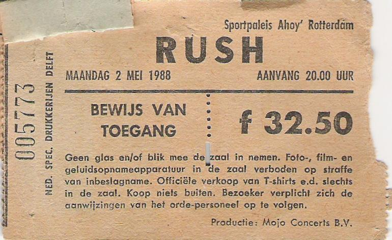 Concert tickets from the past….Rush, live at Ahoy, Rotterdam, Holland, may2nd 1988