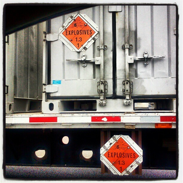 It's legal to sit next to a tractor-trailer carrying explosives while at a traffic light. Conversely, a gram of non-lethal plant material would attract lethal police force upon my vehicle. #TrueStory (Taken with instagram)