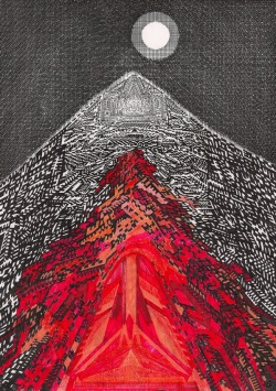 "haeusermann:  Volcano Mixed media on paper, 201229.6 x 21 cm Time lapse video ""Drawing of a Volcano"" http://youtu.be/xDa7vI5-EBM"