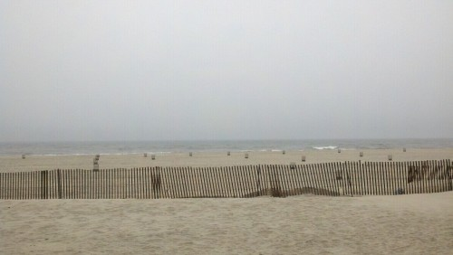 Tech scout at Jones Beach. No birds in the sky. Piercing wind and cold rain gathering on our faces. Despite the weather, the briny smell of the ocean is a welcome escape from the city.