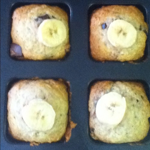 Vegan banana chocolate chunk muffins. (Taken with instagram)