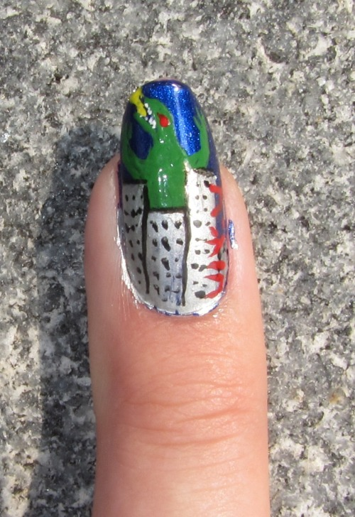 9/3/11 - Giant movie monster nails for the first week of college: Godzilla, with his name written in Japanese down the side in red.
