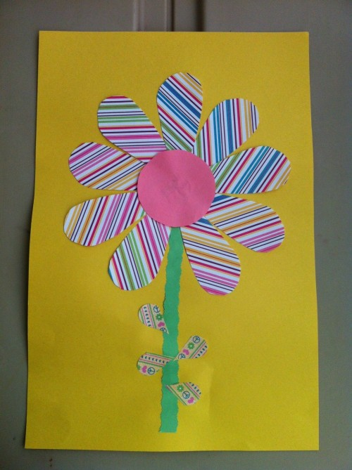 Construction Paper and Scrapbook Paper Scraps Flower Craft