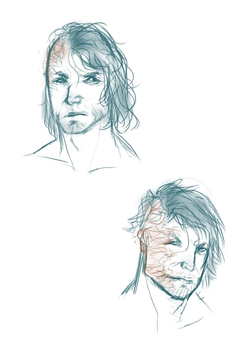 dwenda:  Some Hound sketches for one of the (AWESOME ngknhk) requests I was shot today. The top is how I'd draw his casting in the show, the bottom how I actually pictured him when I read the book. I always had him as slightly younger, more heavily scared, and much more fearsome and lean? I don't know, I was just curious what people thought, I guess. Sandor is my favourite character so I'd like to get the courage to draw him more haha. Also posting sketches this rough is really weird for me but that's what a personal blog is for I guess aafngkn