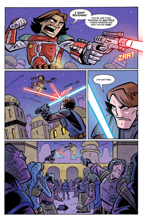 Boba Fett's Revenge: REJECTED This is the fully realized page we created for our second Star Wars: Clone Wars Adventures pitch. In this page, we wanted to show a dramatic action scene, but only had one page. We cut to the core with the main conflict, which was Boba Fett thinking that Anakin and he were similar because they both had slain parents and were dealing with guilt issues. Unfortunately Dark Horse Comics passed on this pitch, but I still think the similarity between the two characters is very interesting. I would love to see them do a story about their relationship as young folks, and then do a Darth Vader/Boba Fett the bounty hunter team-up when they've gotten older.