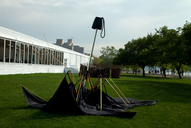 Did any of you visit the Frieze Art Fair this weekend?  @NYMag did a round up their fave works, this one speaks to us on this particularly drab Wednesday.   Joshua Callaghan, Two Dollar Umbrella, Steve Turner Contemporary, L.A.