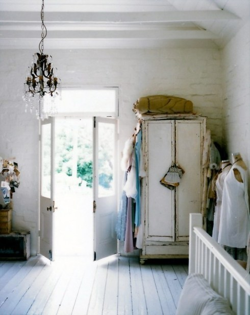 distressed closet on a white floor