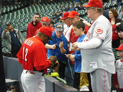 Dusty signs for fans in Milwaukee.