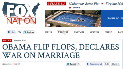 newsweek:  You just had to do that, didn't you, Fox Nation?!  Pretty sure that by denying some people the right to marriage, it's the conservatives that have declared war on it. Giving a larger percentage of folks the opportunity to participate in marriage and thereby enjoy a basic civil right doesn't change the right itself—it bolsters it, gives it more credence. So.