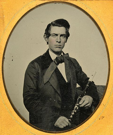 fuckyeahhistorycrushes:  tuesday-johnson:  ca. 1848-1880, [ambrotype portrait of a broody gentleman with his clarinet] via the Musée d'Orsay  Mysterious broody gentleman caught my attention so I thought I would share.