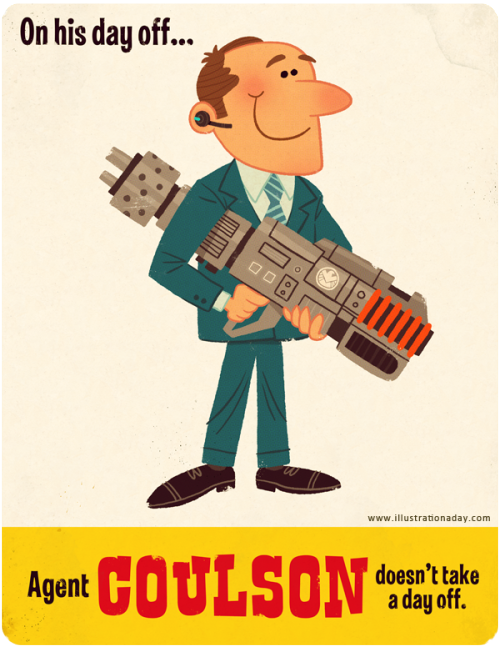 diglettdevious:  xombiedirge:  Agent Coulson's Day Off by Matt Kaufenberg / Blog  AWWWW <3