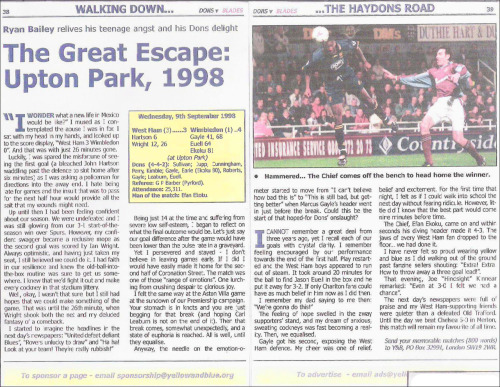 The Beginning A feature from the Wimbledon FC programme that I wrote when I was 16. This is the first time I saw my name in print, and is undoubtedly the reason why I work as a journalist today.