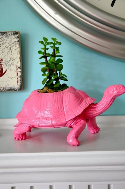 Another repurposed toy, pink turtle! I like saying the word pink turtle for some reason…PINK TURTLE!