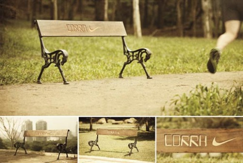 "F/Nazca Saatchi & Saatchi Brasil released this smart bench ad for Nike. ""Corra"" is Run in portuguese. Looks like the idea in 2009 by Anna Echiverri and Annie Chiu."