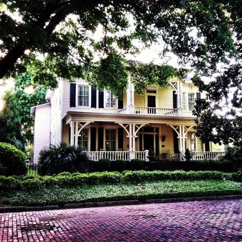 Brick on the street, trees hanging down & a gorgeous front porch for sippin tea or lemonade in the summer. Love this house in #columbus #georgia #nationalphotographymonth #iheartthesouth #southern  (Taken with instagram)